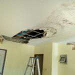 Water Leak. Water leaks down the rooftop floor.